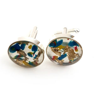 Large round blue/red/yellow gold leaf cufflinks