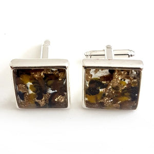 Large square yellow/blue/brown gold leaf cufflinks