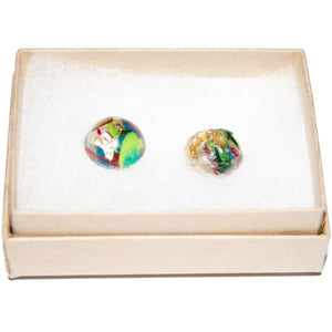 Small Dome Stud Earrings with Gold Leaf