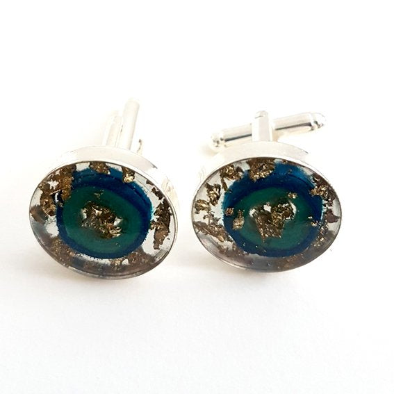 Large round blue ring and gold leaf cufflinks