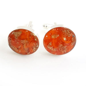 Large round orange and gold leaf cufflinks