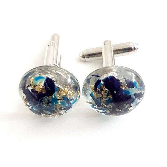Medium dome blue and gold cufflinks