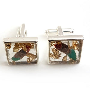 Large square turquoise/multi gold leaf cufflinks