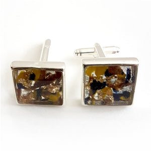 Large square blue/yellow/brown cufflinks