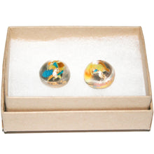Load image into Gallery viewer, Medium Dome Stud Earrings with Gold Leaf
