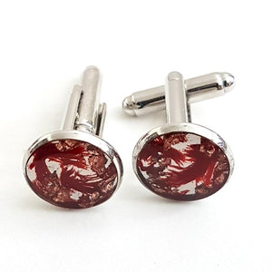 small round red and copper leaf cufflinks