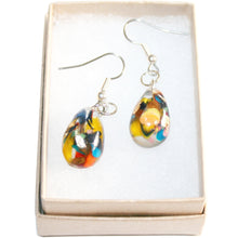 Load image into Gallery viewer, Large Drop Hook Earrings with Gold Leaf