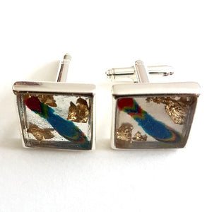 Large square blue/gold leaf cufflinks