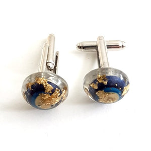 Small dome cufflinks blue and white
