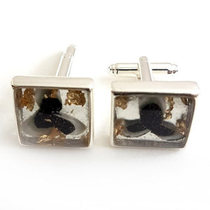 Large square black & white with gold leaf cufflink
