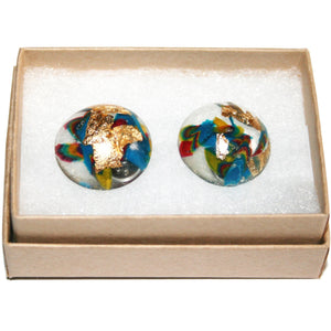 Large Dome Stud Earrings with Gold Leaf