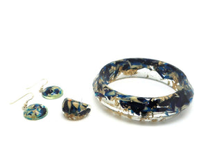 Extra Large Resin Bangle, Dome Hook Earrings + Resin Ring