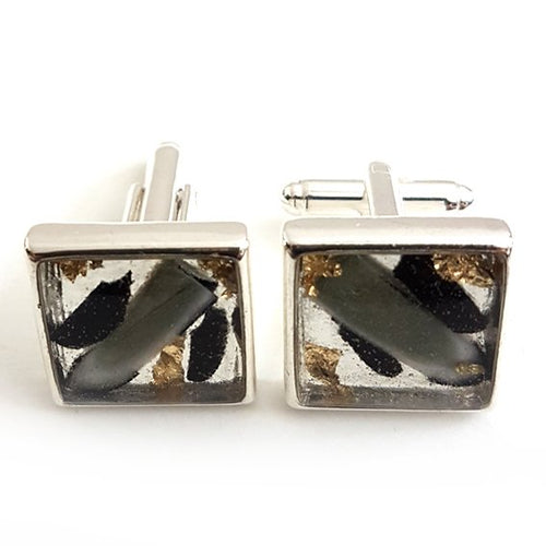 Large square black/white/grey gold leaf cufflinks