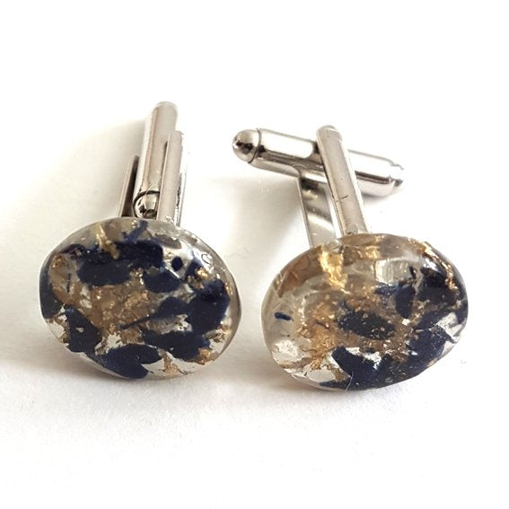 Disc cufflinks dark blue and gold leaf