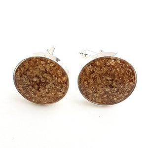 Large round gold leaf cufflinks