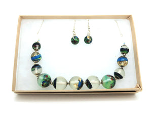 Resin Bead Necklace + Bead Hook Earrings