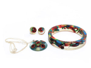 Small Resin Bangle, Dome Necklace + Dome Stud Earrings