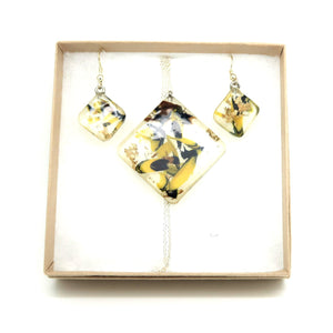Square Necklace + Square Hook Earrings