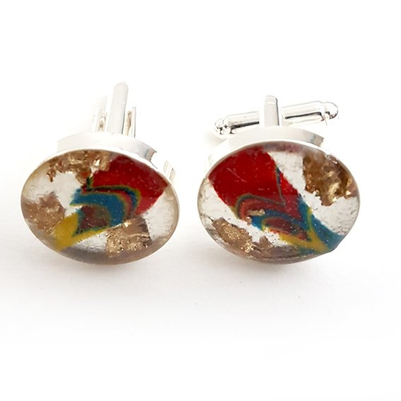 Large round red/blue/yellow gold leaf cufflinks