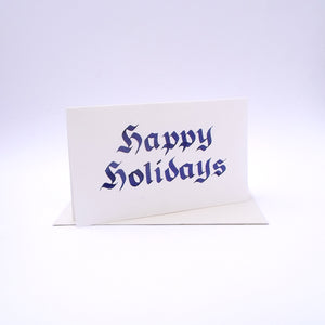 Happy Holidays Calligraphy Blue