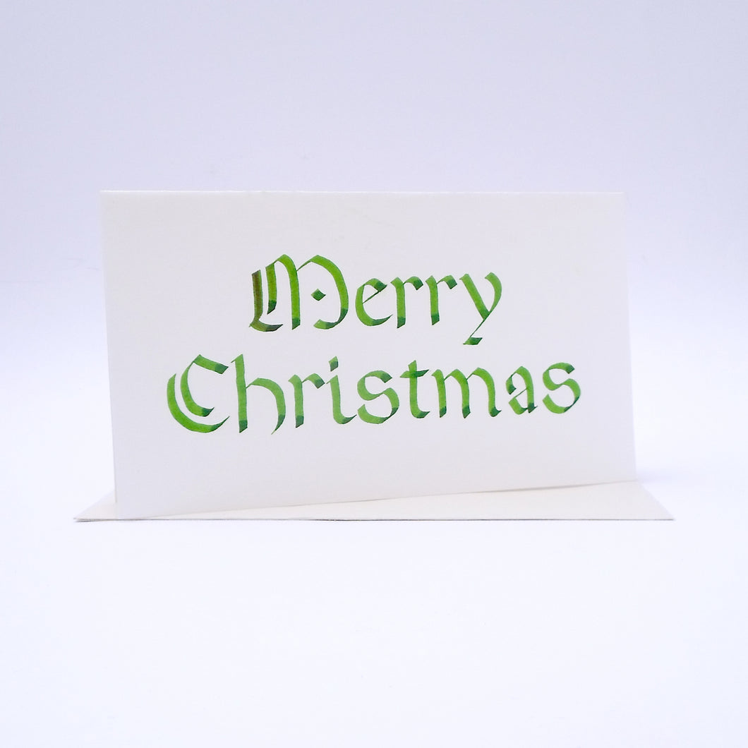 Merry Christmas Calligraphy Rounded Green