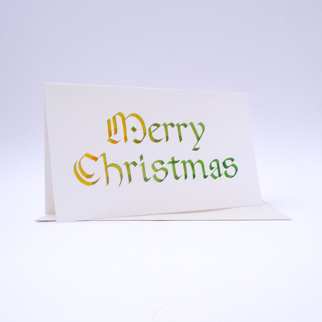 Merry Christmas Calligraphy Rounded Yellow to Green