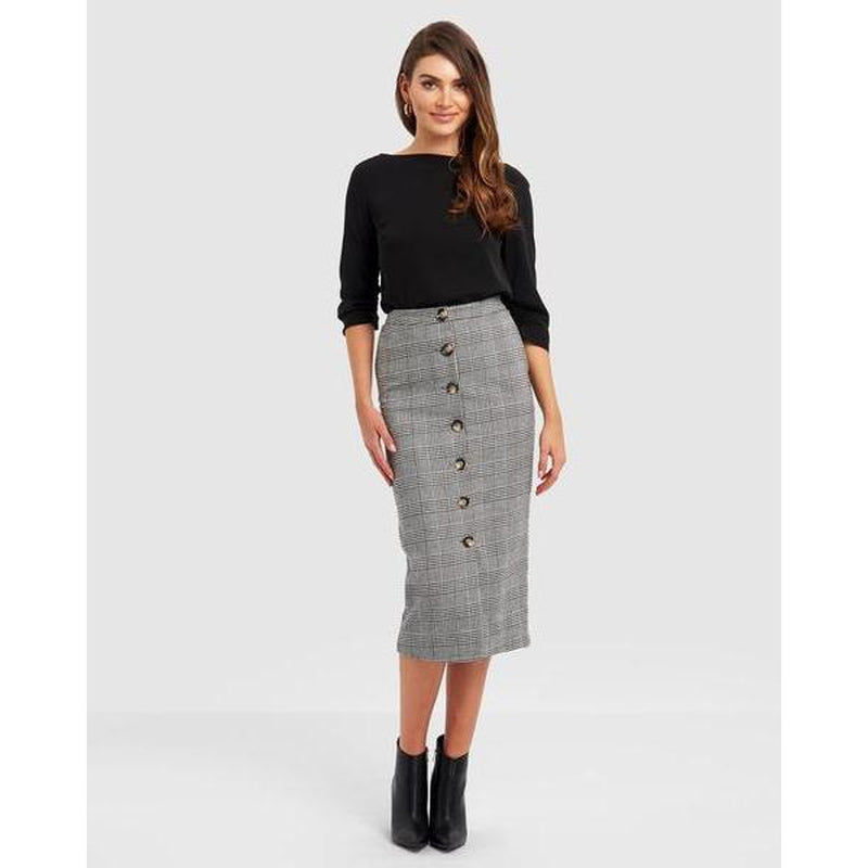 Sharisse Button Up Skirt - Black - The Corporate Collective