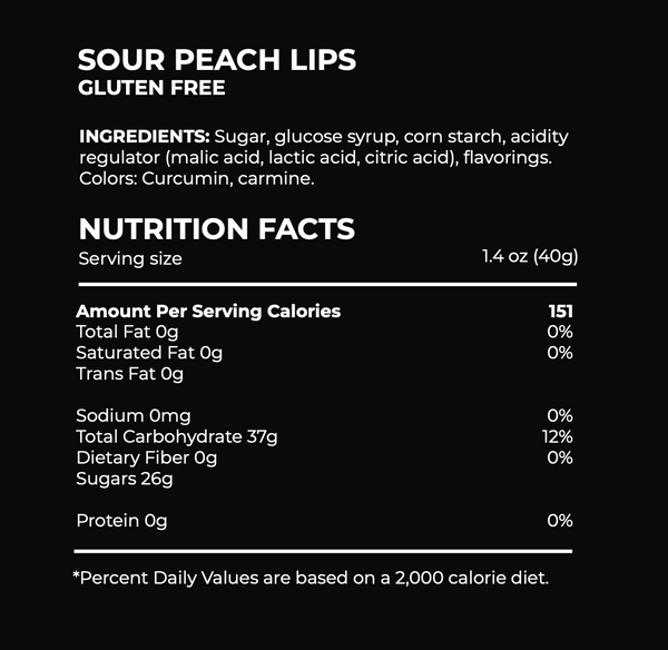 Sour Peach Lips Candy Ingredients
