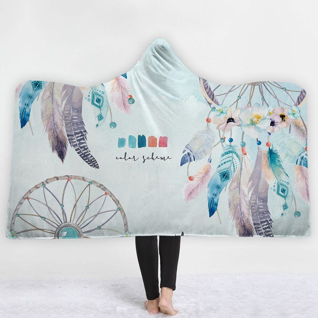 Home Textile Bedding Magic Wearable Hooded Throw Blanket Colorful Dream Catcher Printing Fleece Fabric Sofa Couch Bed Cover Blankets 2019 New Arrival