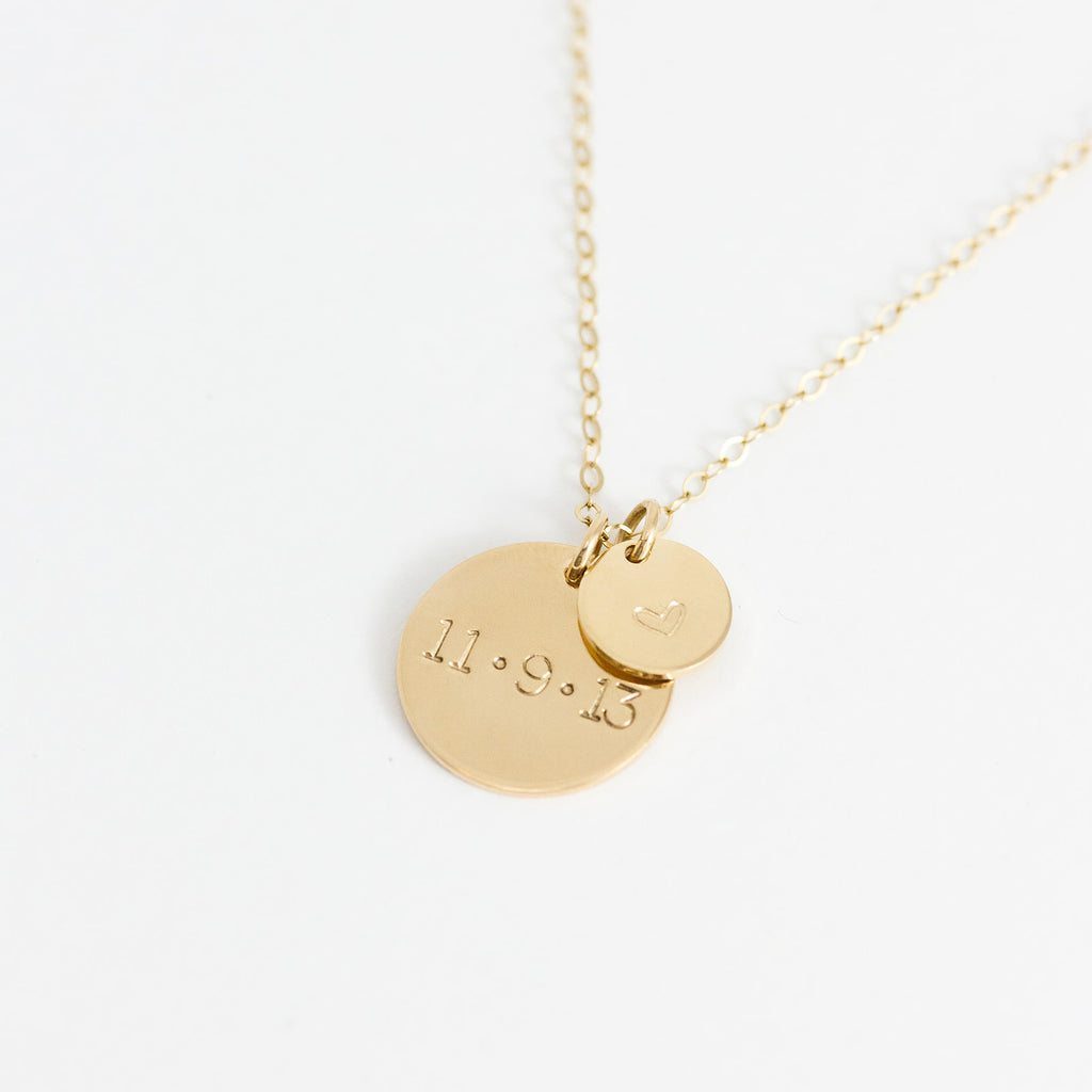 DOUBLE DISC DATE NECKLACE