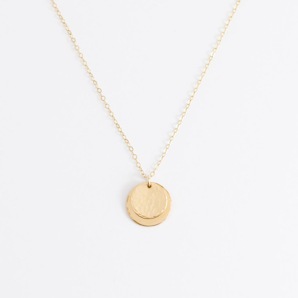 DOUBLE DISC HAMMERED NECKLACE