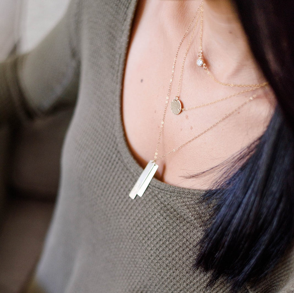 VERTICAL (TRIPLE) BAR NECKLACE