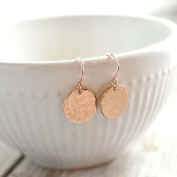 ROSE GOLD DROP DISC EARRINGS
