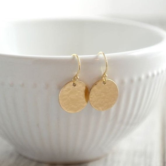 YELLOW GOLD DROP DISC EARRINGS