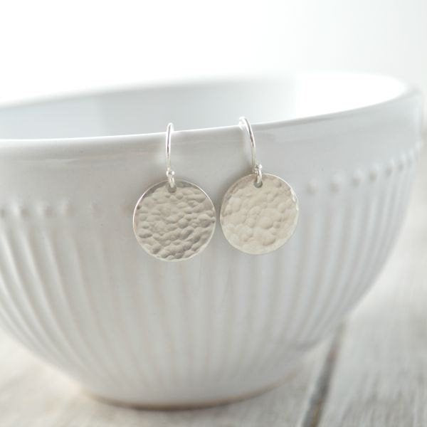 STERLING SILVER DROP DISC EARRINGS
