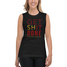 Load image into Gallery viewer, Get Shit Done Black Muscle Tank for Women by Empowerologist