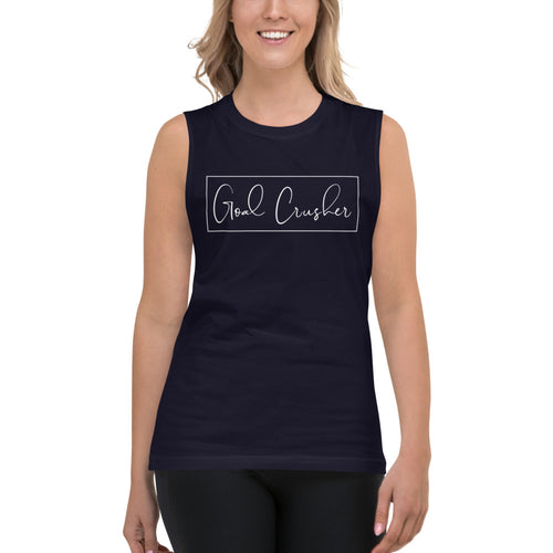 Goal Crusher Navy Muscle Tank for Women by Empowerologist