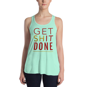 Get Shit Done Mint Racerback Tank Top for Women by Empowerologist