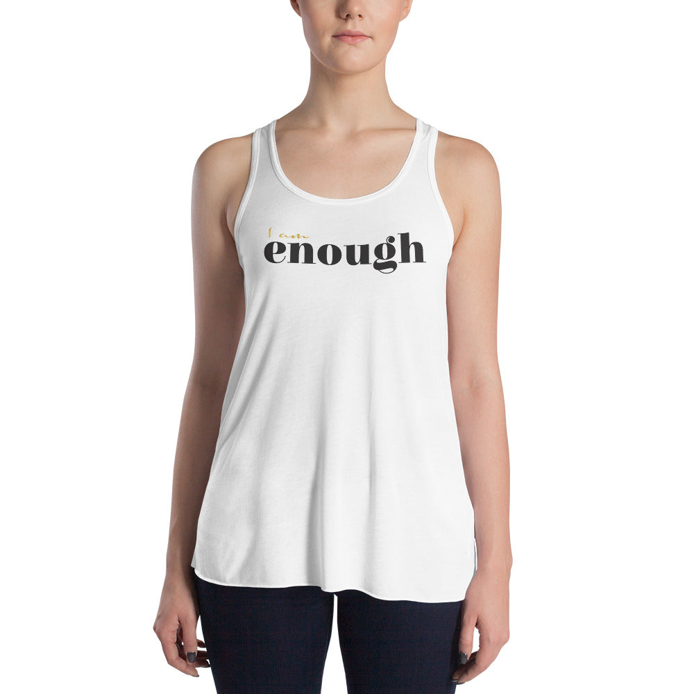 I Am Enough White Racerback Tank for Women by Empowerologist
