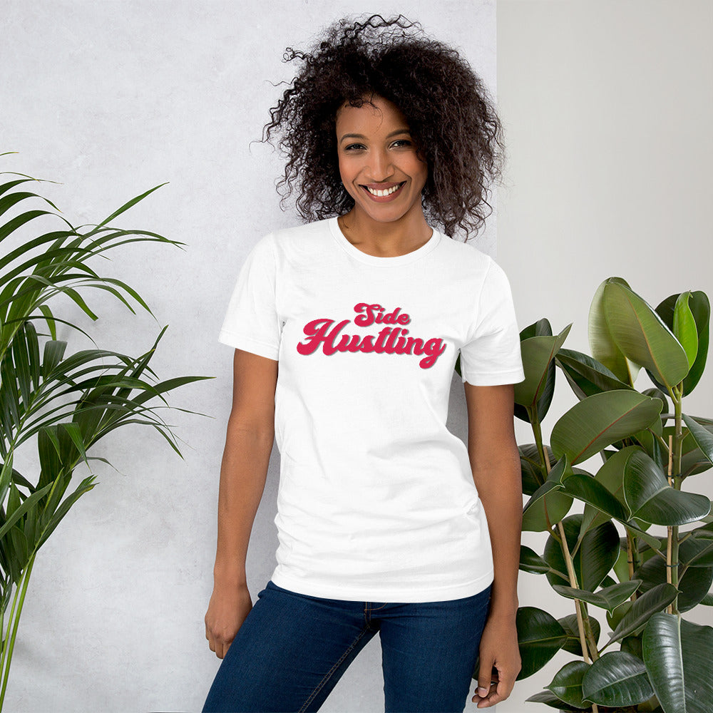 Side Hustling White Cotton T-Shirt for Women by Empowerologist
