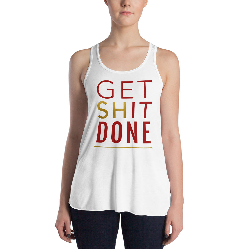 Get Shit Done White Racerback Tank Top for Women by Empowerologist