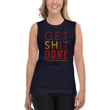 Load image into Gallery viewer, Get Shit Done Blue Muscle Tank for Women by Empowerologist