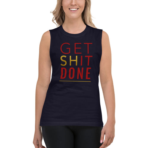 Get Shit Done Blue Muscle Tank for Women by Empowerologist