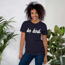 Load image into Gallery viewer, Be Kind Blue Cotton T-Shirt for Women by Empowerologist