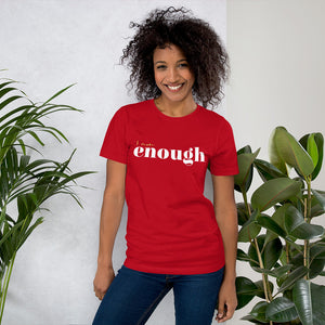 I Am Enough Red Cotton T-Shirt for Women by Empowerologist
