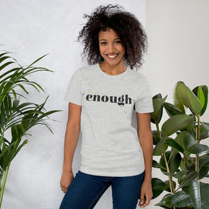 I Am Enough Light Grey Cotton T-Shirt for Women by Empowerologist
