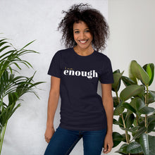 Load image into Gallery viewer, I Am Enough Navy Cotton T-Shirt for Women by Empowerologist