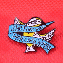 Load image into Gallery viewer, She Flies with Her Own Wings Enamel Pin by Empowerologist