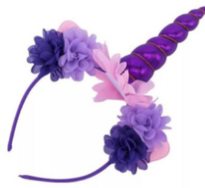 Unicorn Horn and Flower Headband Purple