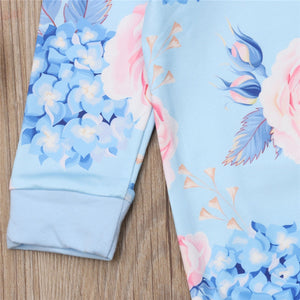 Blue Floral Onesie Headband Outfit